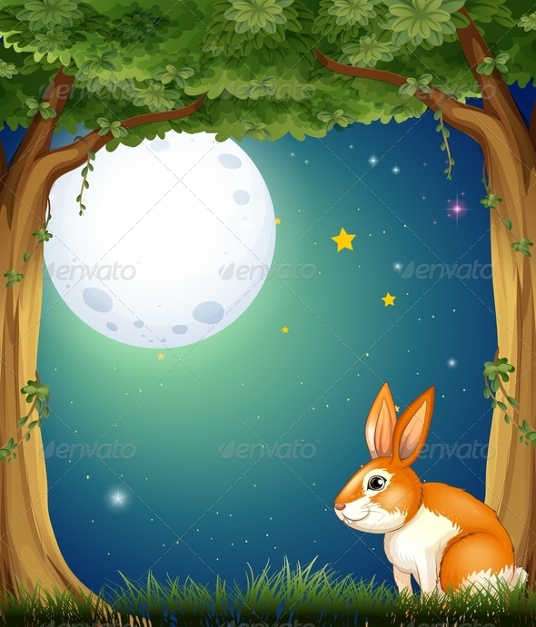 GraphicRiver A Bunny at the Forest Under the Bright Full Moon 7943058
