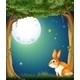 A Bunny at the Forest Under the Bright Full Moon  - GraphicRiver Item for Sale