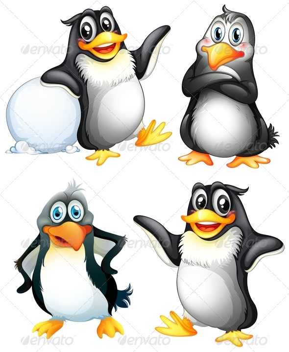 GraphicRiver Four Playful Penguins 7943060