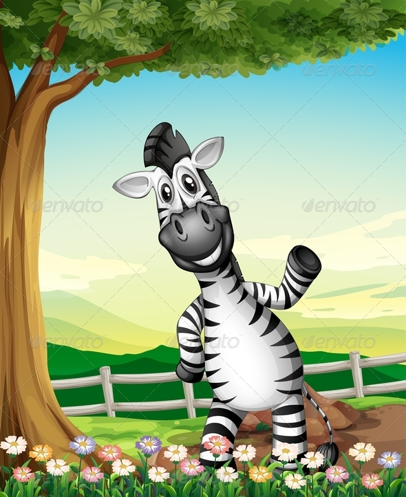 GraphicRiver A Smiling Zebra near the Tree 7943076