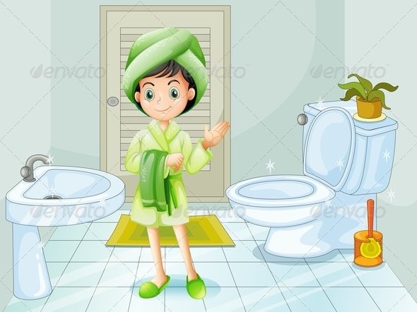 GraphicRiver A Fresh Young Girl at the Bathroom 7943159