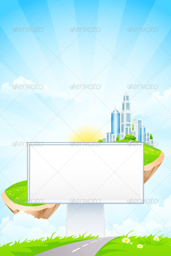 GraphicRiver Empty Billboard in the Grass 7941676