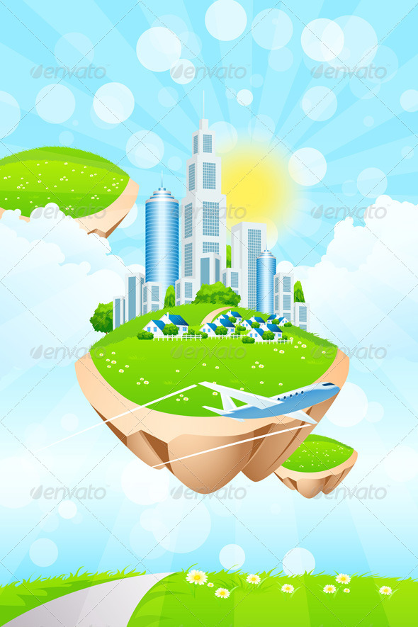 GraphicRiver Business City on Island 7844864