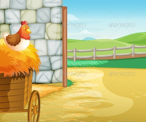 GraphicRiver A Farm with a Hen Above the Hays 7944758