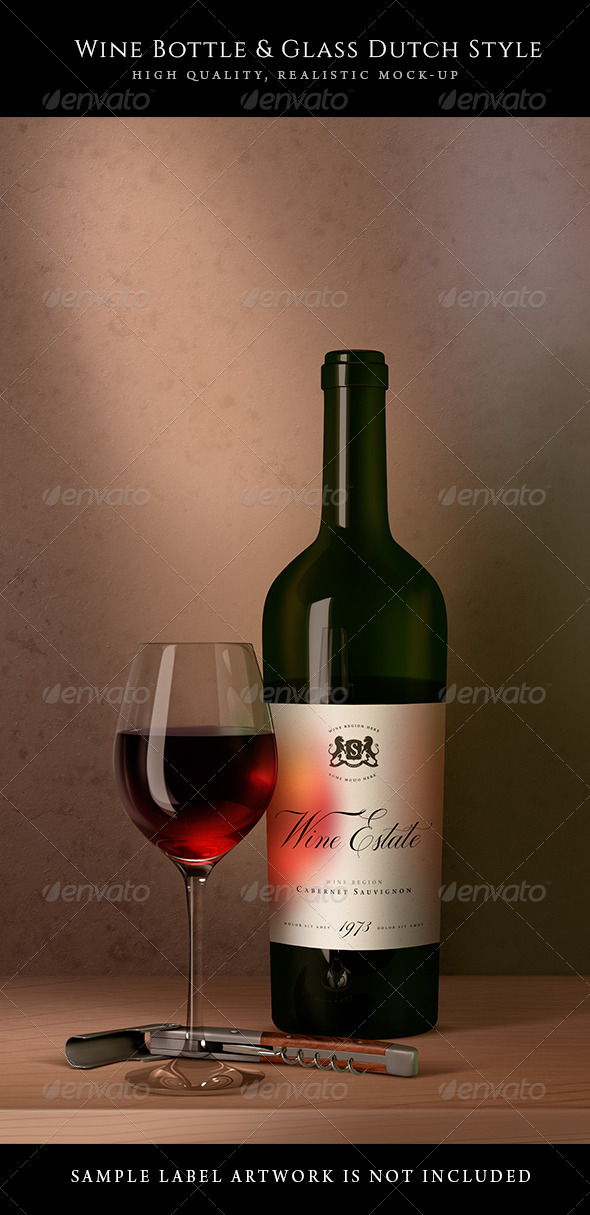 GraphicRiver Wine Bottle Glass and Knife Mock-Up Dutch Style 7945473