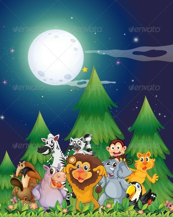 GraphicRiver Animals under Moon Light 7945696