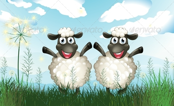 GraphicRiver Sheeps in a Field 7945833