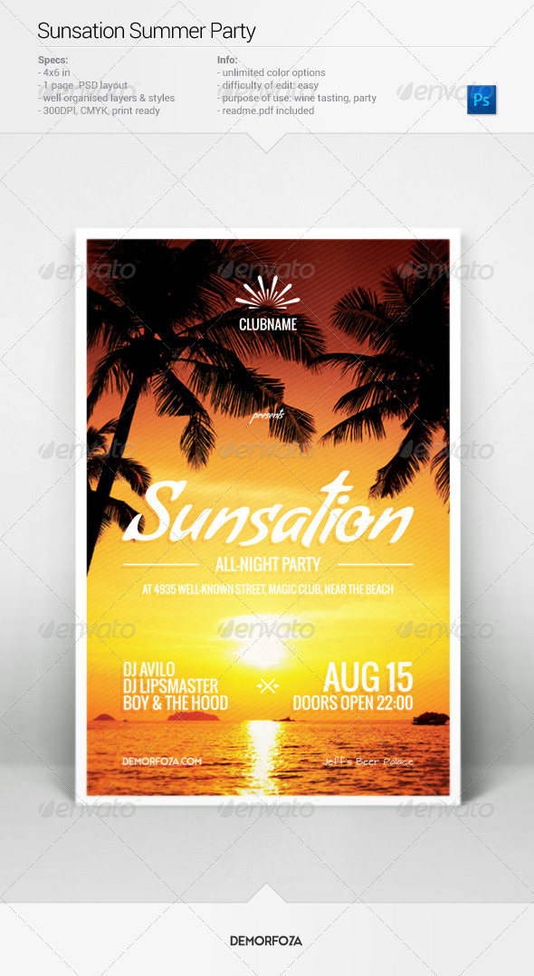 GraphicRiver Sunsation Party Flyer 7947338