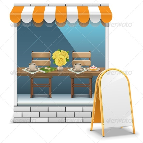 GraphicRiver Vector Cafe with Billboard 7947346