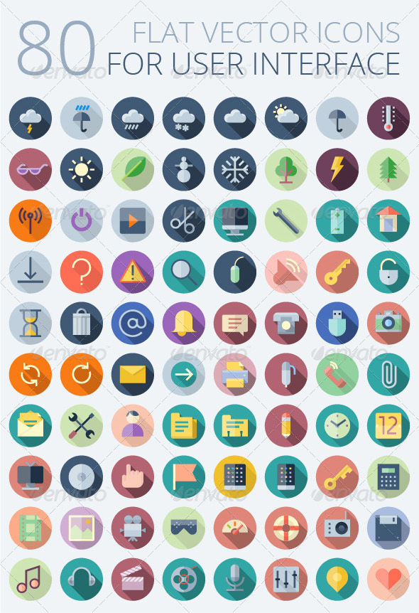 GraphicRiver Flat Vector Icons for User Interface 7947640