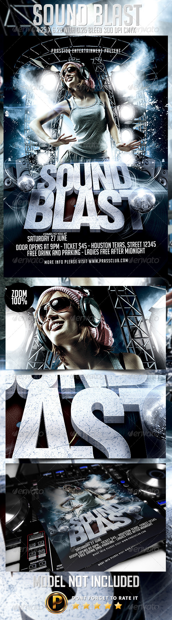 Sound Blast Flyer Template - Clubs & Parties Events