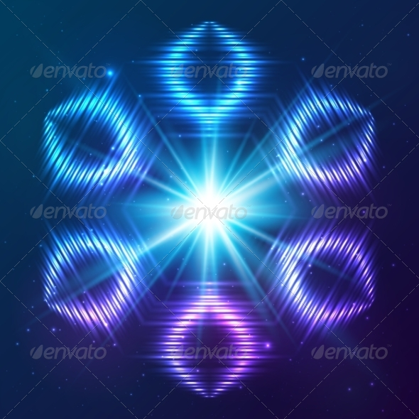 GraphicRiver Cosmic Shining Vector Abstract Snowflake 7948183