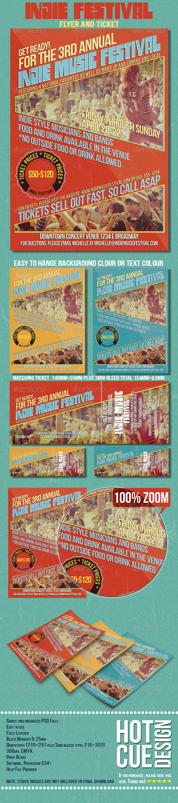 GraphicRiver Indie Music Festival Flyer And Ticket 7948271