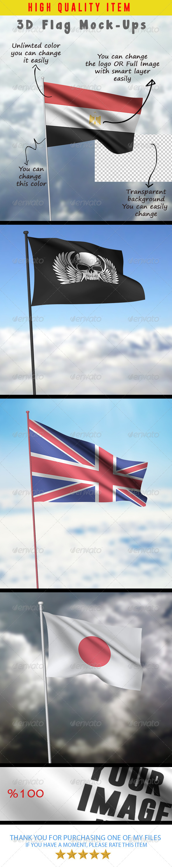 GraphicRiver 3D Flag Mock-Ups 7948586