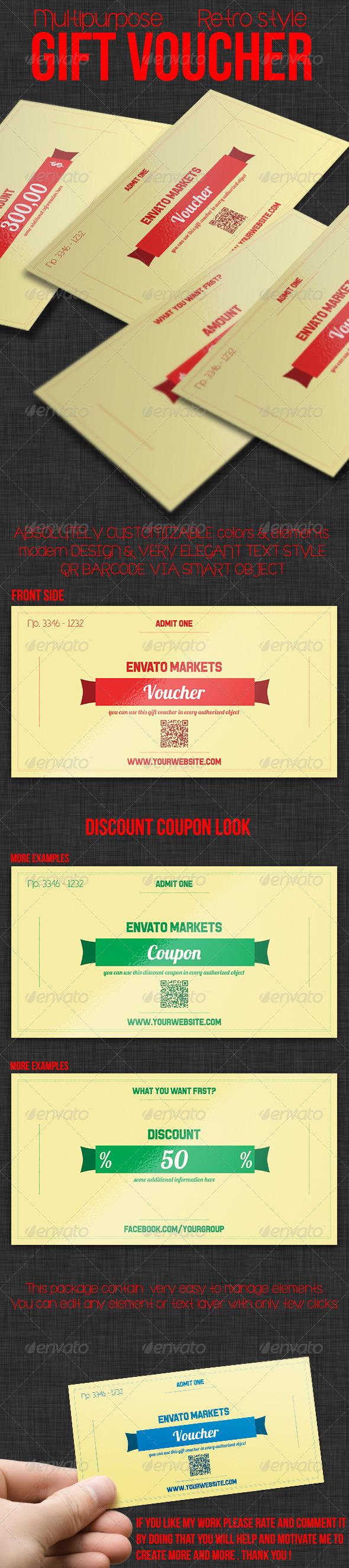 GraphicRiver Multipurpose Retro Gift Voucher 03 7948931