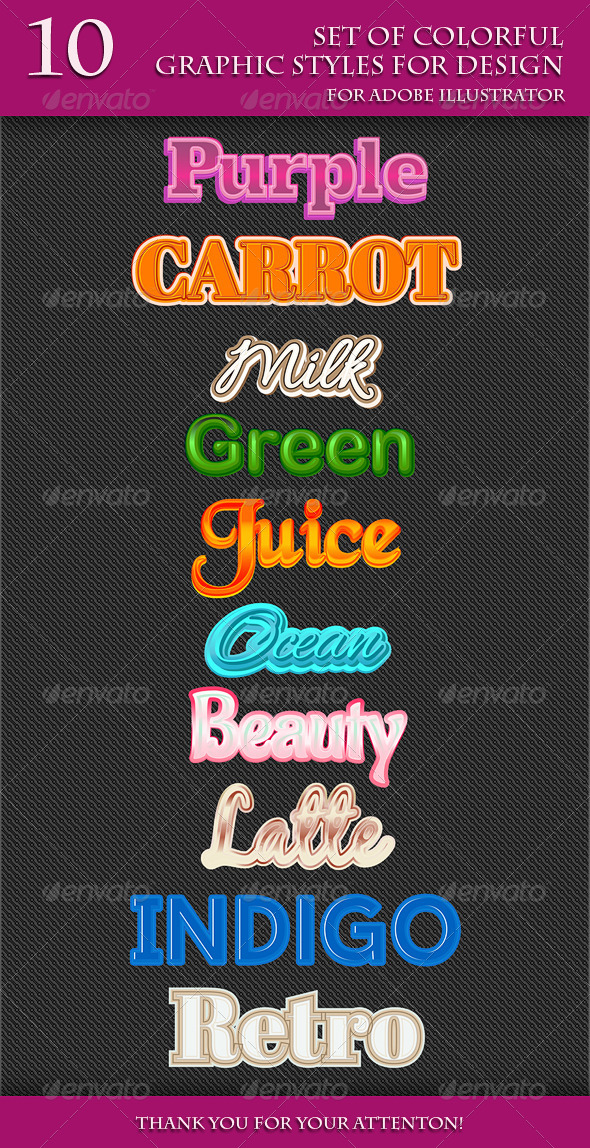 GraphicRiver Set of Colorful Graphic Styles for Design 7949062