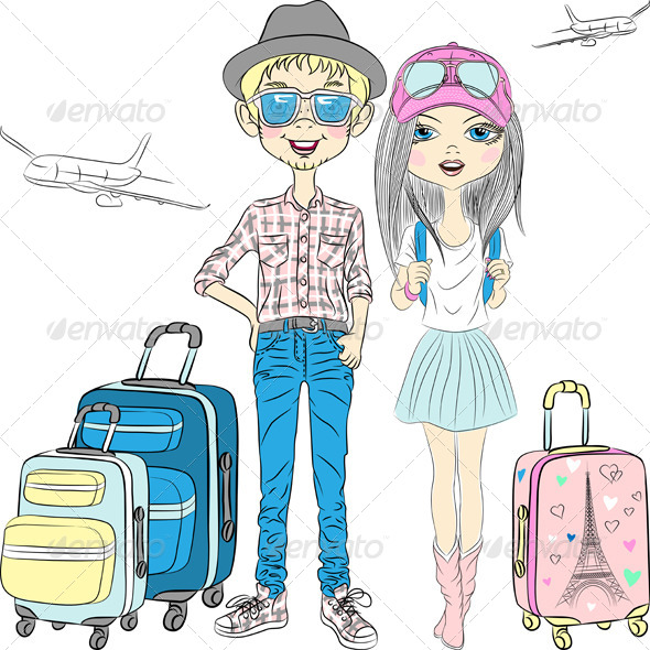 GraphicRiver Vector Hipster Couple Travels the World 7949235