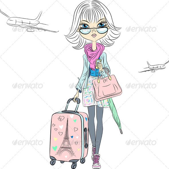 GraphicRiver Vector Beautiful Fashion Girl Travels the World 7949251