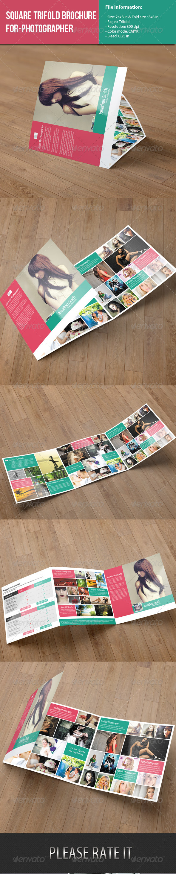 GraphicRiver Square Trifold Brochure-Photography 7949772