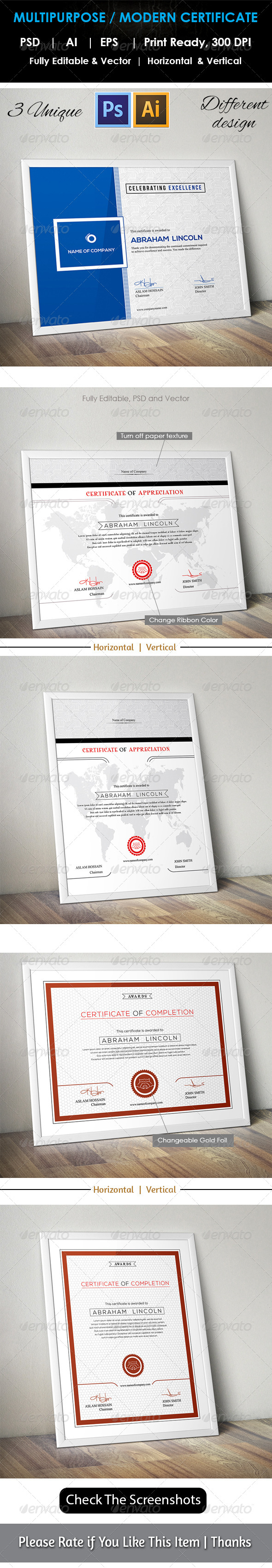 GraphicRiver 3 Design Multipurpose Certificate GD009 7949973