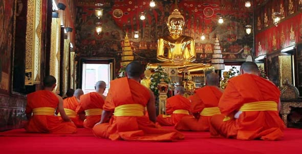 Buddhist Monks Pray In Temple 3