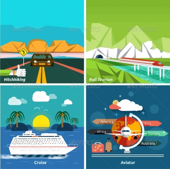 GraphicRiver Set of Traveling and Planning a Summer Vacation 7951633