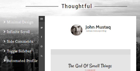ThemeForest Thoughtful Clean & Minimal Blogger Template 7951725