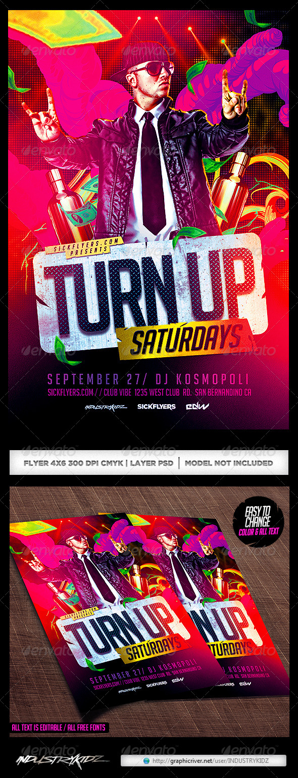 GraphicRiver Turn Up Flyer Template PSD 7951864