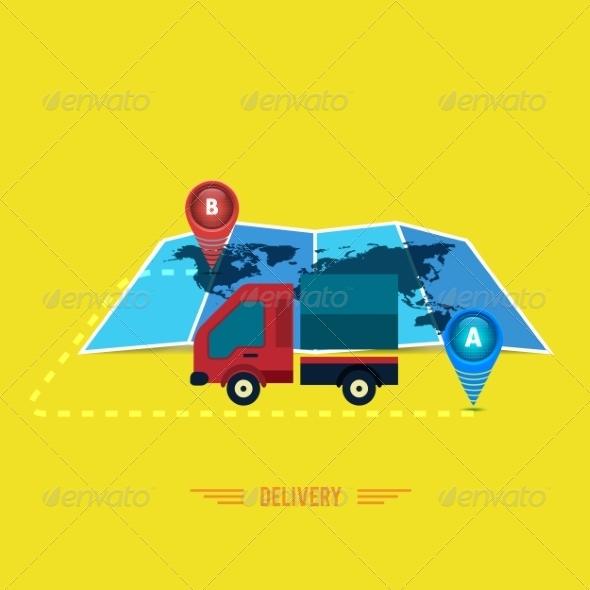GraphicRiver Delivery Service Cargo Truck Symbol 7952299