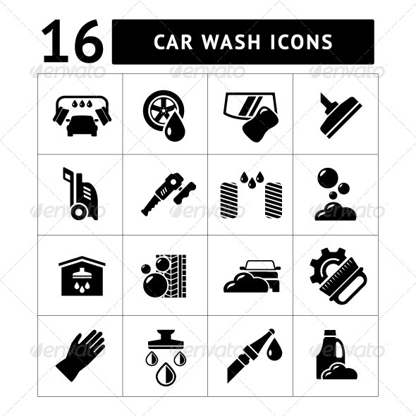 GraphicRiver Set Icons of Car Wash 7952947