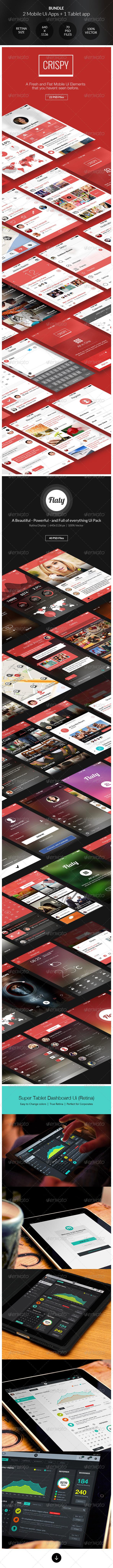 GraphicRiver Bundle 2 Mobile Apps Ui & 1 Tablet App Ui 7952949