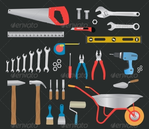 GraphicRiver Modern Hand Tools Instruments Collection 7953522