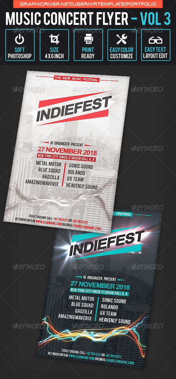 GraphicRiver Music Concert Flyer Volume 3 7954286