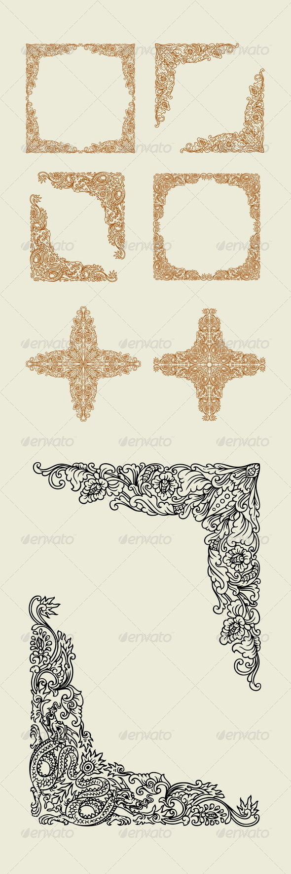 GraphicRiver Dragon and Floral Decoration 7954368