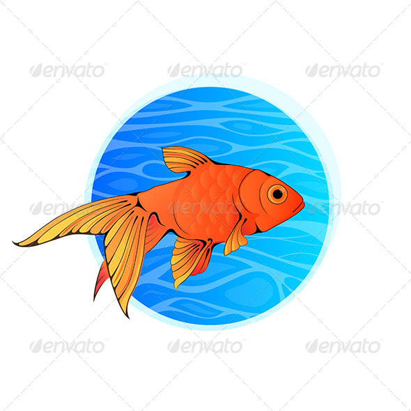 GraphicRiver Little Goldfish in Blue Water 7954662