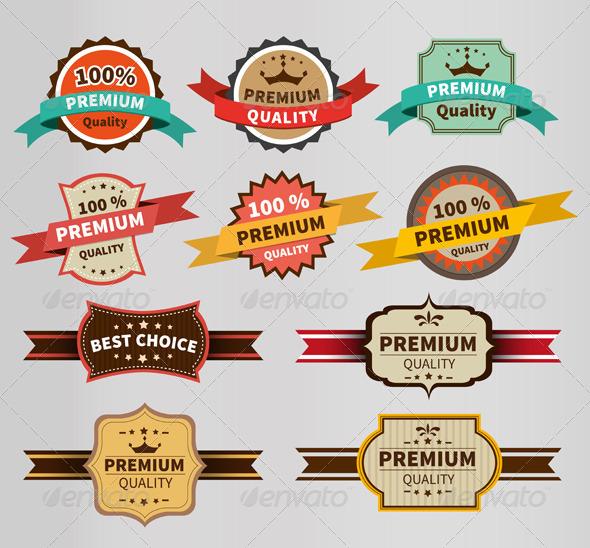 GraphicRiver Vintage Labels Set Discount and Premium 7954781