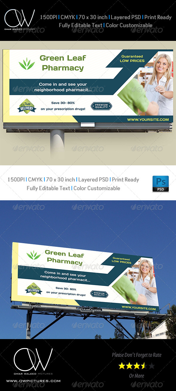 GraphicRiver Pharmacy Billboard Template 7954904