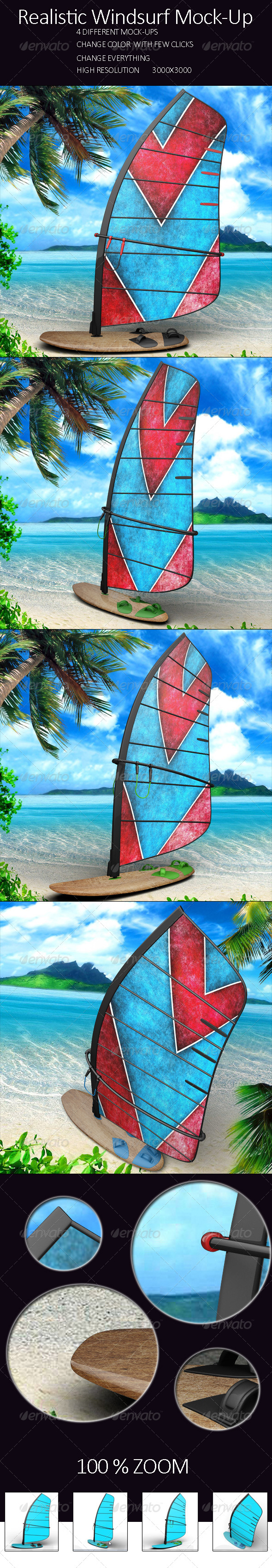 Realistic Windsurf Mock Up