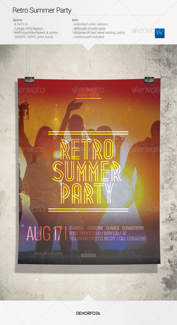 GraphicRiver Retro Summer Party Flyer 7955951