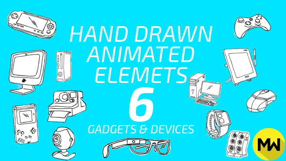 Hand Drawn 06 Gadgets & Devices Pack of 52
