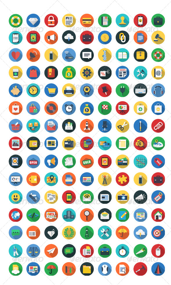 GraphicRiver 200 Flat Icons 7956049