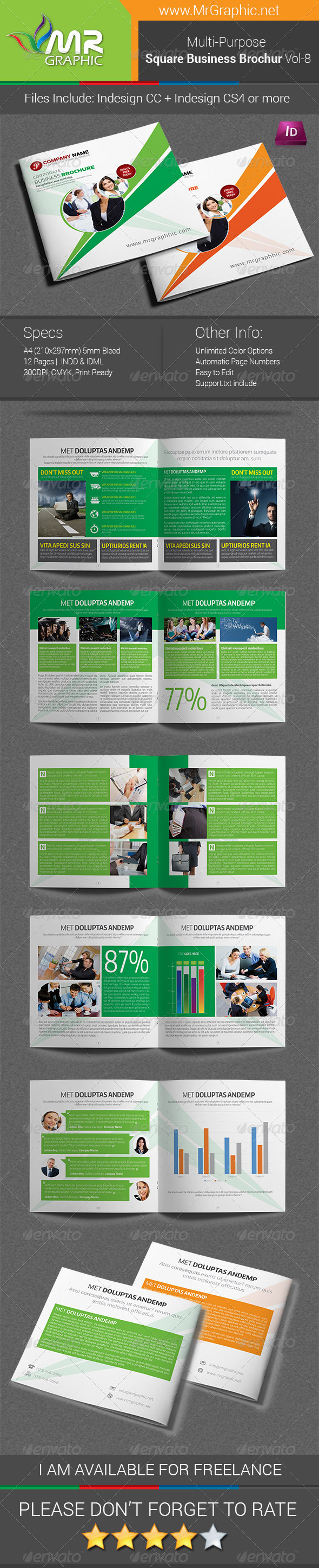 GraphicRiver Multipurpose Square Brochure Template Vol-08 7956350