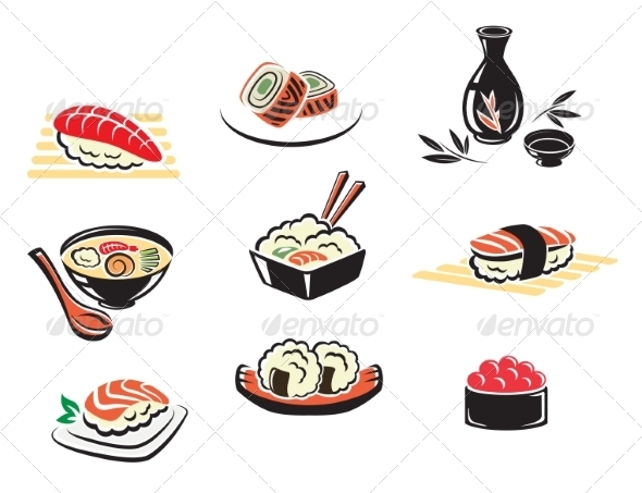 GraphicRiver Set of Japanese Seafood Icons 7956527
