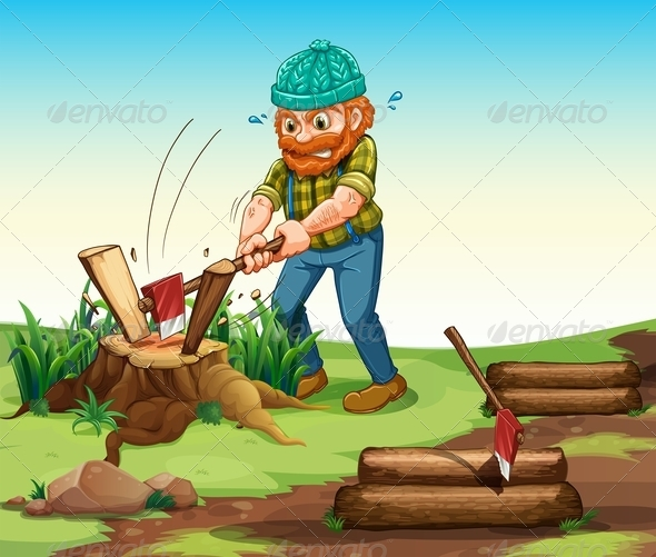 GraphicRiver Lumberjack chopping Wood 7956831