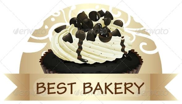 GraphicRiver Best Bakery Label with a Chocolate Cupcake 7956873