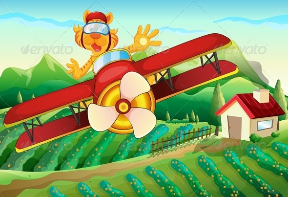 GraphicRiver Plane with a Lion Flying Above a Farm 7956893