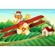 Plane with a Lion Flying Above a Farm - GraphicRiver Item for Sale