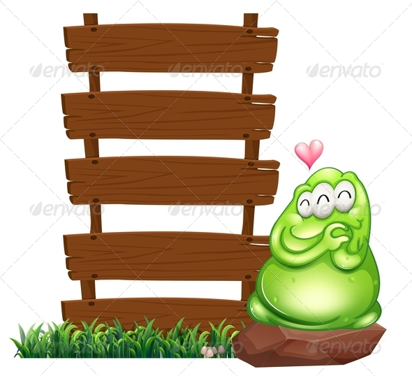 GraphicRiver Green Monster Beside Empty Wooden boards 7956944