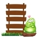 Green Monster Beside Empty Wooden boards - GraphicRiver Item for Sale