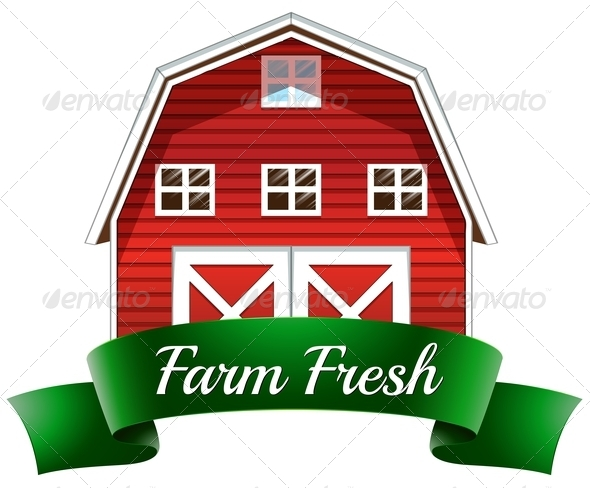 GraphicRiver Farm Fresh Label with a Red Wooden House 7956972